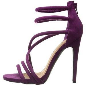 New Quipd Diamond Violet Suede Zipper Heels